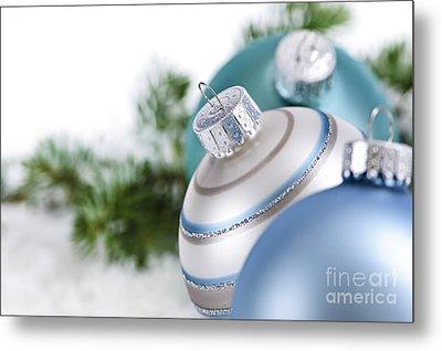 Blue Christmas Ornaments Metal Print by Elena Elisseeva