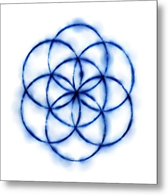 Blue Circle Abstract Metal Print by Tom Druin