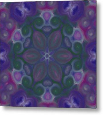 Blue Circle Mandala Metal Print by Karen Buford