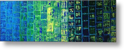 Metal Print featuring the painting Blue City by Linda Bailey