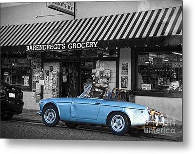 Blue Classic Car In Jamestown Metal Print by RicardMN Photography