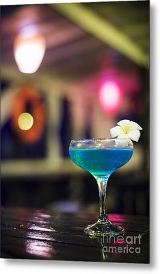 Blue Cocktail Drink In Dark Bar Interior Metal Print