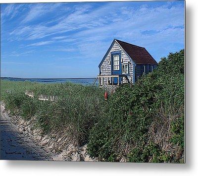 Blue Cottage Cape Cod Metal Print by Samuel H Close