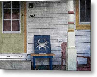 Blue Crab Chair Metal Print by Brian Wallace