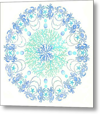 Blue Crab Mandala 5 Metal Print