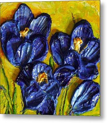 Blue Crocuses Metal Print by Paris Wyatt Llanso