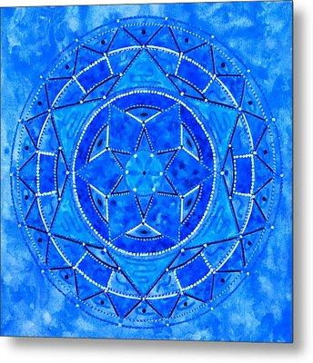 Blue Crystal Mandala Metal Print by Vlatka Kelc