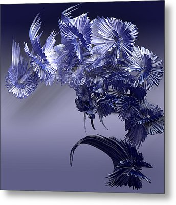 Metal Print featuring the digital art Blue Daisies by Melissa Messick