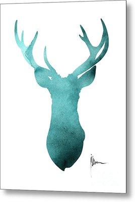 Blue Deer Antlers Watercolor Art Print Painting Metal Print