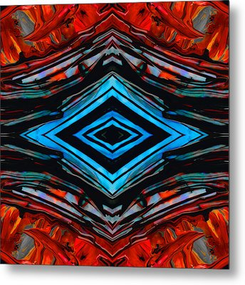Blue Diamond Art By Sharon Cummings Metal Print
