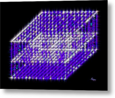 Blue Diamond Grid Metal Print