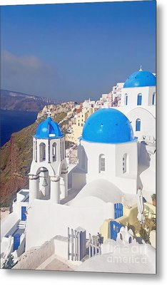 Blue Dome  Metal Print by Aiolos Greek Collections