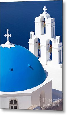 Blue Dome Church Metal Print by Aiolos Greek Collections