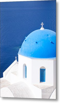Blue Domed Church In Oia - Santorini - Greece Metal Print by Matteo Colombo