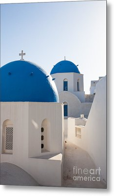 Blue Domed Churches Of Oia - Santorini - Greece Metal Print by Matteo Colombo