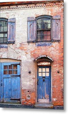 Blue Door Red Wall Metal Print