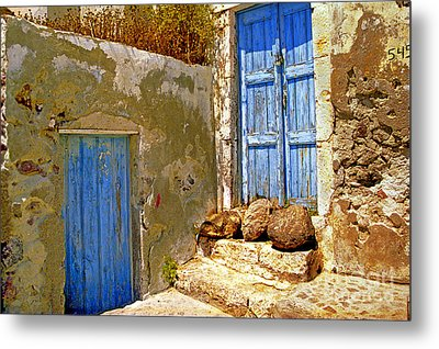 Blue Doors Of Santorini Metal Print