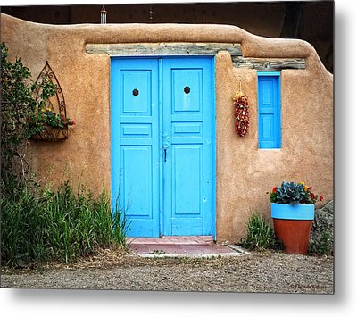 Blue Doors Of Taos Metal Print by Lucinda Walter