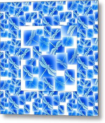 Blue Dragonflies Metal Print