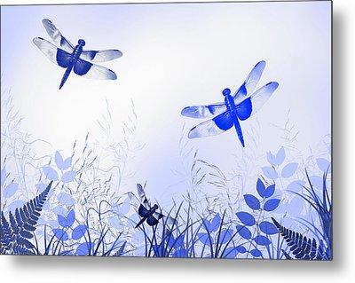 Blue Dragonfly Art Metal Print by Christina Rollo