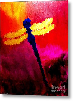 Blue Dragonfly No 2 Metal Print by Anita Lewis