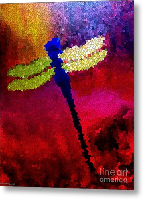 Blue Dragonfly No 3 Metal Print by Anita Lewis