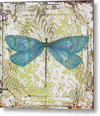 Blue Dragonfly On Vintage Tin Metal Print
