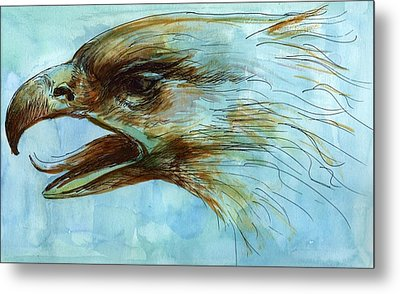 Blue Eagle Influenced By Past Master Metal Print by Victoria Stavish