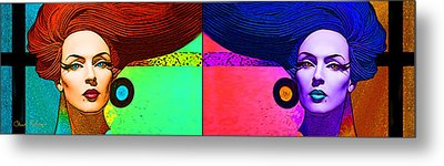 Blue Earring - Purple Lady Combo Metal Print by Chuck Staley