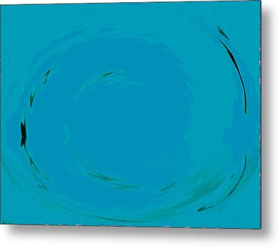 Metal Print featuring the digital art Blue Oval by Phoenix De Vries