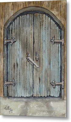 Metal Print featuring the painting Blue Entrance Door Has Stories by Kelly Mills