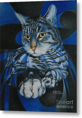 Metal Print featuring the painting Blue Feline Geometry by Pamela Clements