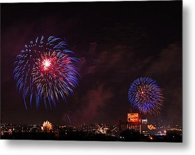 Blue Fireworks Over Domino Sugar Metal Print by Bill Swartwout