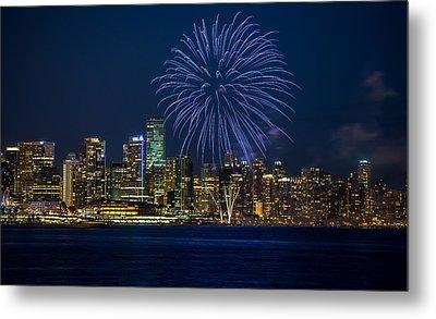 Blue Fireworks Metal Print