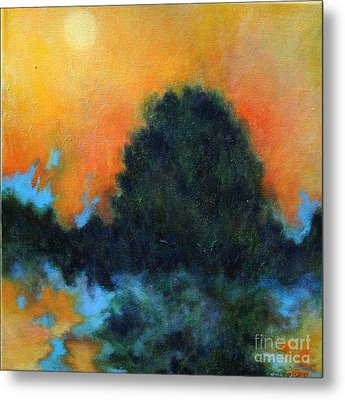 Blue Flame Metal Print by Alison Caltrider