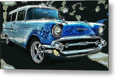 Blue Flames '57 Metal Print by Victor Montgomery