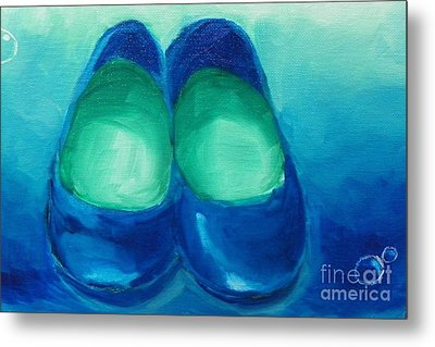 Metal Print featuring the painting Blue Flats by Marisela Mungia