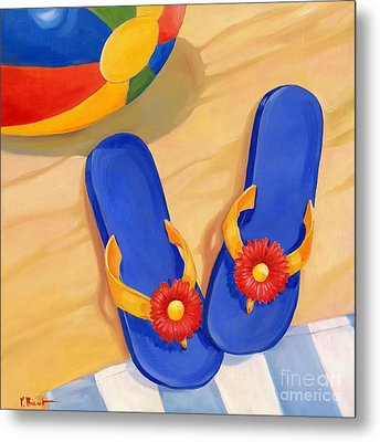 Blue Flip Flops Metal Print by Paul Brent