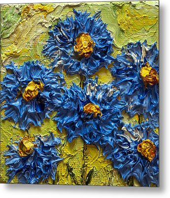 Blue Flower Cluster II Metal Print by Paris Wyatt Llanso
