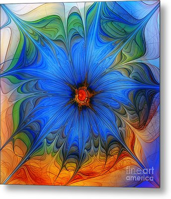 Blue Flower Dressed For Summer Metal Print by Karin Kuhlmann