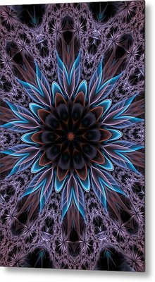 Metal Print featuring the digital art Blue Flower by Lilia D