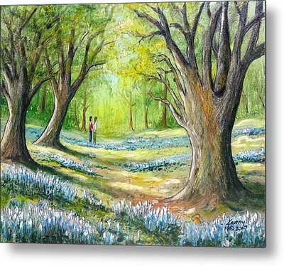 Metal Print featuring the mixed media Blue Flowers by Kenny Henson