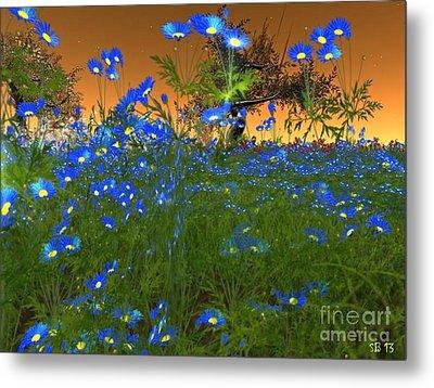 Metal Print featuring the digital art Blue Flowers by Susanne Baumann