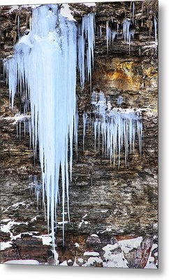 Blue Frozen Icicle Stalactites Metal Print