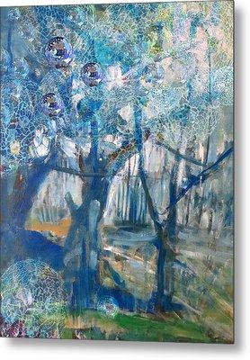 Blue Glass Bead Tree Metal Print by John Fish