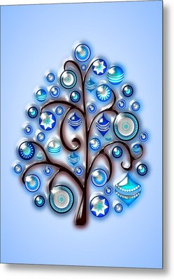 Blue Glass Ornaments Metal Print by Anastasiya Malakhova
