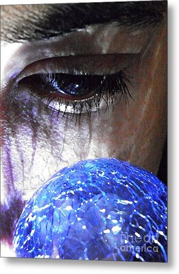 Blue Glass World Metal Print