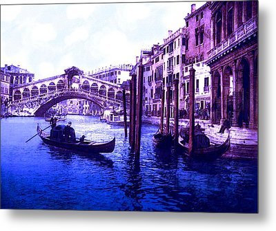 Blue Gondolas - The Rialto Bridge Venice Italy Metal Print by L Brown