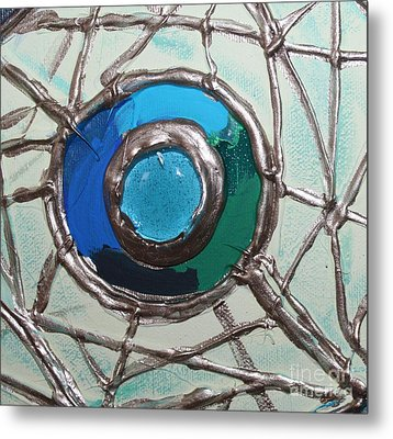 Blue Green And Gold Circle Metal Print by Cynthia Snyder