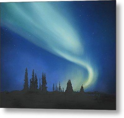 Blue Green Aurora Borealis Metal Print by Cecilia Brendel